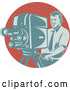 Vector of a Camera Guy Working over a Red Circle by Patrimonio