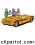 Vector of a Car Sales Man Giving a Customer the Keys to an Orange Classic Convertible Car by LaffToon