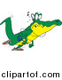 Vector of a Cartoon Alligator Walking and Listening to Music by Ron Leishman