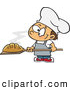 Vector of a Cartoon Baker Boy Posing with Hot, Fresh Bread Loaf by Toonaday