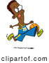 Vector of a Cartoon Black Athletic Basketball Player Running While Dribbling the Ball by Toonaday