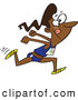 Vector of a Cartoon Black Track and Field Woman Sprinting and Preparing to Jump by Toonaday