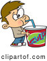 Vector of a Cartoon Boy Drinking from a Huge Big Gulp Soft Drink Cup by Ron Leishman