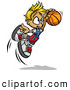 Vector of a Cartoon Boy Jumping with Basketball Towards Hoop by Chromaco