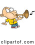 Vector of a Cartoon Boy Playing a Bugle Horn by Ron Leishman