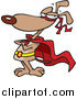 Vector of a Cartoon Brown Super Dog Standing in a Cape by Ron Leishman