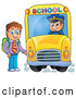 Vector of a Cartoon Brunette White Boy Boarding a School Bus by Visekart