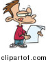 Vector of a Cartoon Brunette White Boy Reading a Letter by Toonaday