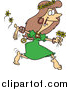 Vector of a Cartoon Brunette White Hippie Woman Running with Flowers by Ron Leishman