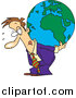 Vector of a Cartoon Business Man Carrying a Burden Globe on His Back by Toonaday