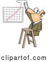 Vector of a Cartoon Businessman Making Room for Improved Business Growth Chart by Toonaday