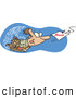 Vector of a Cartoon Businessman Swimming After a Fishing Hook with Bonus Bait Attached by Ron Leishman
