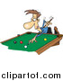 Vector of a Cartoon Caucasian Man Leaning over a Billiards Table by Toonaday