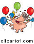 Vector of a Cartoon Celebrating New Year Pig with Balloons and a Horn by Ron Leishman
