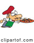 Vector of a Cartoon Chef Blowing out Lit Candles on a Fresh Pizza by Ron Leishman