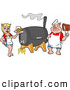 Vector of a Cartoon Chef Pig with BBQ Ribs and a Waitress with Beer Standing Beside a Smoker by LaffToon