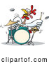 Vector of a Cartoon Chicken Character Playing Drums Aggressively by