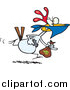 Vector of a Cartoon Chicken Thief Running with a Money Bag by Ron Leishman