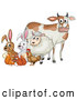 Vector of a Cartoon Cow, Sheep, Rabbit, Chicken, Squirrels and Rabbit by Graphics RF