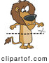 Vector of a Cartoon Dotted Line with Scissors over a Confused Lion by Ron Leishman