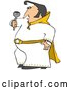 Vector of a Cartoon Elvis Impersonator in a White Costume, Dancing and Singing with a Microphone by Djart