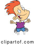 Vector of a Cartoon Excited Red Haired Boy Jumping by Toonaday