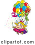 Vector of a Cartoon Fairy Floating up with Lots of Balloons by Ron Leishman