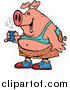 Vector of a Cartoon Fat Party Pig Holding Beer by Ron Leishman