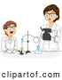 Vector of a Cartoon Female Science Teacher Working with a Happy Male Student on a Chemistry Project by BNP Design Studio