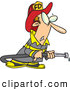 Vector of a Cartoon Fireman Trying to Get His Firehose to Work by Toonaday
