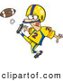 Vector of a Cartoon Football Player Kicking the Ball by Ron Leishman