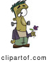 Vector of a Cartoon Frankenstein Holding a Purple Flower by Toonaday