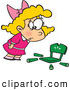 Vector of a Cartoon Goldilocks Girl Shockingly Looking at Her Broken Chair by Toonaday