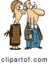 Vector of a Cartoon Gothic Farmer Husband and Wife Standing Side-by-Side with a Pitch Fork by Toonaday