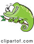 Vector of a Cartoon Green Spotted Chameleon Lizard Smiling on a Branch by Ron Leishman