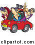 Vector of a Cartoon Group of White Male Birders Using Binoculars in a Car by Toonaday