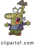 Vector of a Cartoon Halloween Frankenstine Being Scary by Toonaday