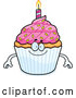 Vector of a Cartoon Happy Birthday Cupcake Mascot by Cory Thoman