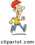 Vector of a Cartoon Happy Red Haired Young Man Taking a Stroll by Toonaday