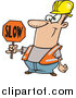 Vector of a Cartoon Happy White Male Construction Worker Slowing down Traffic by Toonaday