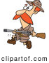 Vector of a Cartoon Hunter Carrying a Rifle While Looking for Big Game by Ron Leishman