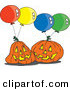 Vector of a Cartoon Jackolanterns with Halloween Party Balloons by Ron Leishman