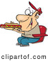 Vector of a Cartoon Man Eating a Long Hot Dog at a Sporting Event by Toonaday