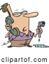 Vector of a Cartoon Man Holding a Broken Water Pipe While Calling a Plumber by Toonaday