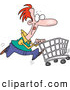 Vector of a Cartoon Man Pushing a Shopping Cart While Running by Toonaday