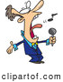 Vector of a Cartoon Man Singing Loud by Ron Leishman