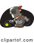 Vector of a Cartoon Man Welding with Mask and Torch by Toonaday