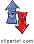 Vector of a Cartoon Negative Red and Positive Blue Arrow Characters by Chromaco