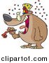 Vector of a Cartoon New Year Bear Holding a Noise Maker by Ron Leishman