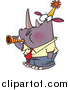 Vector of a Cartoon New Year Rhino Business Man Blowing a Horn by Ron Leishman